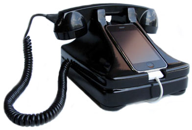 An old fashioned black telephone - with an iPod instead of a dial